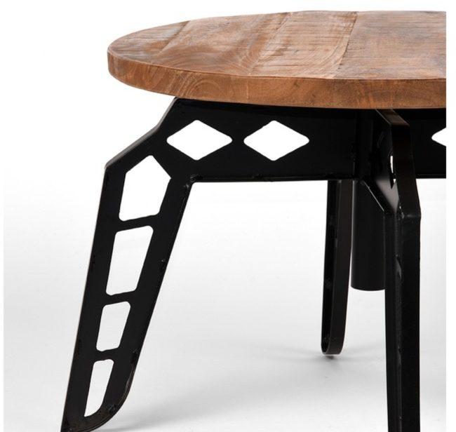 Afbeelding van Naturelkleurige LABEL51 - Salontafel Pebble - Mangohout - Zwart metaal - Rond - 60x60x43 cm