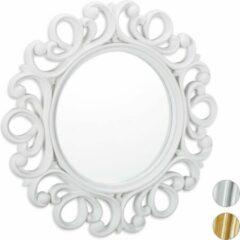 Relaxdays spiegel rond - sierspiegel gang - wandspiegel - design - 50 cm rond wit