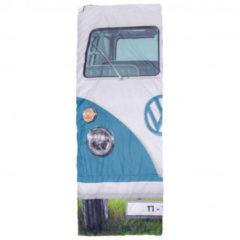 VW Collection - VW T1 Bus Einzelschlafsack - Synthetische slaapzak maat 180 x 75 cm, grijs/blauw