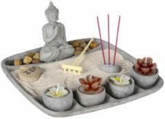 Decopatent® Zen Wierrookhouders Boeddha - Wierrook houder plateau - Om wierrook stokjes in te zetten - Wierrook brander - Plankje