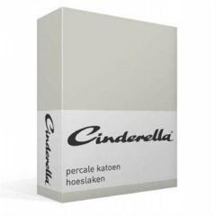 Cinderella Basic percaline katoen hoeslaken - 100% percaline katoen - Lits-jumeaux (180x200 cm) - Grijs