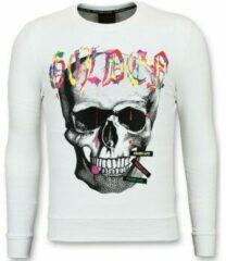 Enos Sweater Mannen - Doodskop Heren Trui - Golden Skull - Wit Sweaters / Crewnecks Heren Sweater Maat XS
