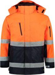 Marineblauwe Tricorp Parka EN471 Bi-color - Workwear - 403004 - Fluor Oranje-Navy - maat S