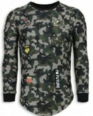 Justing 23th US Army Camouflage Shirt - Long Fit Sweater - Groen Heren Sweater XL