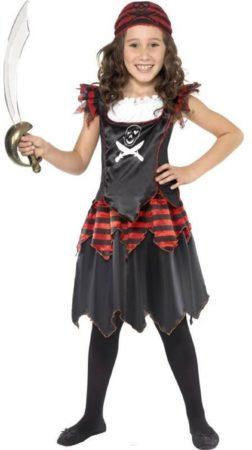Afbeelding van Generik Verkleedkleding meisje | Piraatje met doodshoofd | maat 134-140
