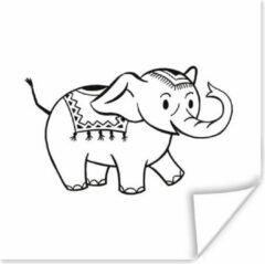PosterMonkey Een illustratie van een baby olifant tegen een witte achtergrond poster 30x30 cm - Foto print op Poster (wanddecoratie woonkamer / slaapkamer) / Wilde dieren Poster