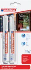 False Edding 4095 krijtmarker wit - 2 stuks in blisterverpakking - krijtmarkers - raamstift - raamstiften - chalkmarker – krijtstift – glasstift – schoolbordstift – krijtbordstift – stoepbordstift