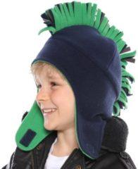 Merkloos / Sans marque Fleece winter muts hanenkam zwart / groen voor jongens - Hanen muts 54 cm
