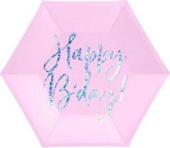 PartyDeco Borden Happy Birthday Roze/ Zilver (6 stuks)