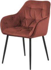 Lisomme Arian eetkamerstoel - Velvet - Terracotta rood