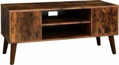 Donkerbruine VASAGLE retro lowboard, tv-plank, tv-tafel, tv-kast in de jaren 50/60 look, retro meubels voor uw flatscreen, spelconsoles, woonkamer, kantoor, houtlook