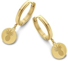 CO88 Collection Sense 8CE 70086 Stalen Oorringen - 16 mm - Ananas - Goudkleurig