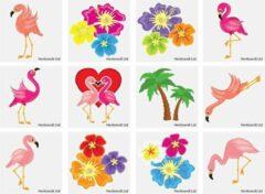 Henbrandt Ltd 60 stuks KINDER TATTOOS FLAMINGO tropical / uitdeel cadeautjes / FUN artikel / kinderfeestje