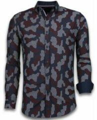 Tony Backer Italiaanse Overhemden - Slim Fit Overhemd - Blouse Dotted Camouflage Pattern - Zwart Casual overhemden heren Heren Overhemd Maat 3XL