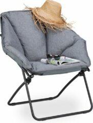 Grijze Relaxdays Campingstoel - gepolsterd - moon chair - tuinstoel - visstoel - opvouwbaar