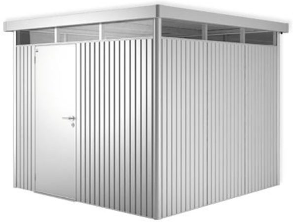 Afbeelding van Zilveren Biohort Highline H4 zilver metallic 1 deurs - 275 x 275 x 222 cm