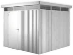 Zilveren Biohort Highline H4 zilver metallic 1 deurs - 275 x 275 x 222 cm