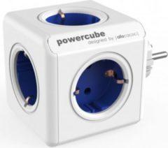 Allocacoc PowerCube Original Blau, Reiseadapter & 5x Steckdose und Verteiler, 230V Schuko, Weiß Blau