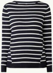 Donkerblauwe Gerry Weber Fijngebreide pullover met streepprint
