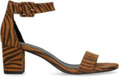 Bruine Sacha - Dames - Zebraprint sandalen met hak - Maat 37