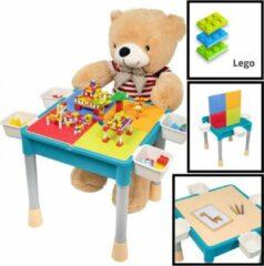Blauwe Decopatent® - Kindertafel met 1 Stoeltje - Speeltafel met bouwplaat en vlakke kant - 4 Bakjes - Geschikt voor Lego® Bouwstenen