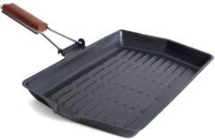 San Ignacio Zwarte grillpan/braadschaal 38 x 45 cm met anti-aanbak laag en houten handvat - Grillpannen - Koken - Vlees/voedsel grillen