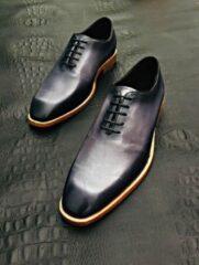 Donkerblauwe Pantera Pelle Leather Shoes Volledig Lederen Herenschoen, blauw met zacht grijs en zwart, maat 42