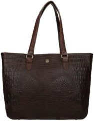FMME Schoudertas Caithy Laptop Business Bag Croco 15.6 Inch Bruin