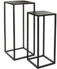 Zwarte Mica Decorations goa tafel zwart set van 2 grootste maat in cm: 30 x 30 x 70
