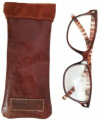 Toetie & Zo Handgemaakte Leren Brillenkoker Bruin - Knijpsluiting - Brillenetui - Brillentas - Leder - Snappouch