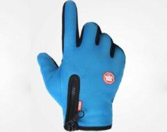 Lichtblauwe Merkloos / Sans marque Handschoenen - Touchscreen - Grip - Waterafstotend - Thermisch - Wintersport - Ski/Snowboardhandschoenen - Fietshandschoenen - Dames/Heren - Unisex - Maat M - Stretch - Blauw