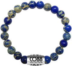 CO88 Collection Elemental 8CB 17013 Rekarmband met Stalen Element - Sediment Natuursteen 6 mm - One-size - Blauw