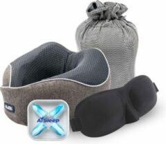 Reiskussen Ai Sleep Traagschuim Nekkussen met Slaapmasker en Oordoppen - voor vliegtuig en auto - slaap - slapen - reizen - Grijs