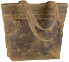 Groene GreenBurry Leren shopper met rits van vintage bruin ecoleer - Charlotte