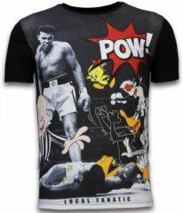 Zwarte T-shirt Korte Mouw Local Fanatic Ali vs. Cartoons - Digital Rhinestone T-shirt