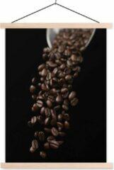 TextilePosters Koffiebonen voor een espresso schoolplaat platte latten blank 60x80 cm - Foto print op textielposter (wanddecoratie woonkamer/slaapkamer)
