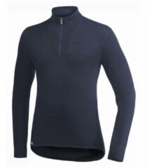 Donkerblauwe Woolpower Zip Turtleneck 200 Shirt