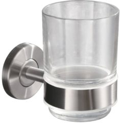 Roestvrijstalen Saqu Glashouder met glas 6,7x10,75x10 cm RVS