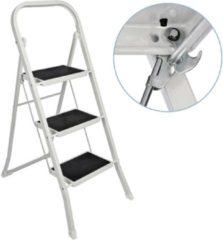 Witte Haushalt Basic Huishoudtrap 3 Treden - Anti-slip - Max. 150 KG - Anti-Slip Poten