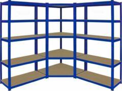 Blauwe MonsterShop Monster Racking T-Rax Corner Shelving Unit & 2 x 90cm Garage Storage Bays, Blue