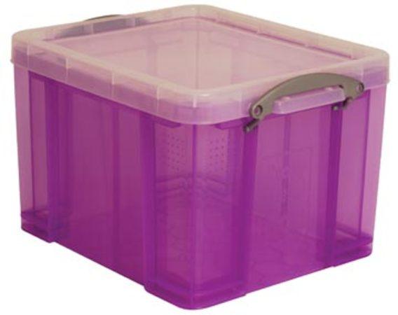 Afbeelding van Really Useful Boxes RUB gekleurde transparante opbergdoos 35 l purper