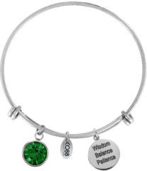 CO88 Collection Birthstone 8CB 12029 Stalen Armband met Hangers - Geboortesteen Mei met Swarovski Elements - One-size - Zilverkleurig / Groen