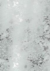 MTis Cadeaupapier Zilver met Metallic Bloemen- Breedte 60 cm - 150m lang - K801974/14-60cm-100mtr