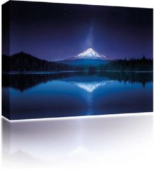 Blauwe Sound Art - Canvas + Bluetooth Speaker Mountain Reflection At Night (23 x 28cm)