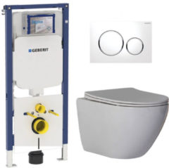 Douche Concurrent Geberit UP720 Toiletset - Inbouw WC Hangtoilet Wandcloset Rimfree - Shorty Flatline Sigma-20 Wit