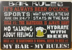 Rode Deco Noord Bar Rules Beer O CLOCK Reclamebord van metaal METALEN-WANDBORD - MUURPLAAT - VINTAGE - RETRO - HORECA- BORD-WANDDECORATIE -TEKSTBORD - DECORATIEBORD - RECLAMEPLAAT - WANDPLAAT - NOSTALGIE -CAFE- BAR -MANCAVE- KROEG- MAN CAVE