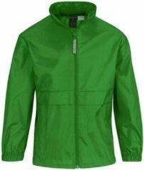 Bc Regenkleding voor jongens/meisjes grasgroen - Sirocco windjas/regenjas voor kinderen 7-8 jaar (122/128) grasgroen