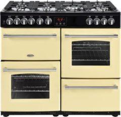 Creme witte Belling Farmhouse 100DFT Range cooker Gaskookplaat Crème