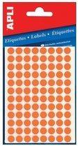 Apli ronde etiketten in etui diameter 8 mm, fluo oranje, 288 stuks, 96 per blad (2080)
