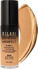 Milani Verbergen + Perfecte 2-in-1 Foundation + Concealer Covering Facial Foundation 06A Deep Beige 30ml